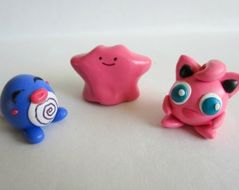Pokemon Clay Sculptures (Poliwag, Jigglypuff, Ditto)
