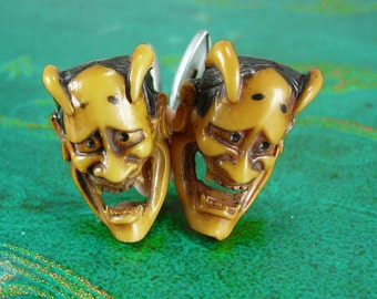 Japanese DEVIL Cufflinks Vintage celluloid Sinful Cuff link  Jewelry Theatre Hannya  Demon satan grotesque with horns fangs silver Anson set