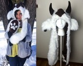 Deluxe Baby Sky Bison-- Ready to Ship Handmade Hooded Scarf