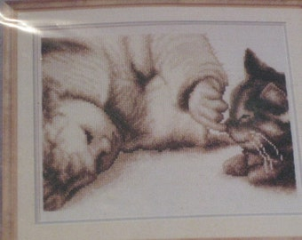 Baby and Kitten -  Counted Cross Stitch Kit