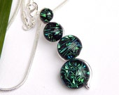 Emerald Green Dichroic Glass Snake Pendant - Fused Glass Jewelry - Multi Cab Green Glass Necklace
