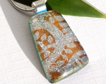 Elegant Copper and Silver Dichroic Glass Necklace - Art Glass Pendant - Fused Glass Jewelry