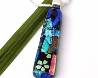 Multi Dichroic Glass Pendant - Fused Glass Jewelry - Mixed Dichroic Glass Long Slim Necklace