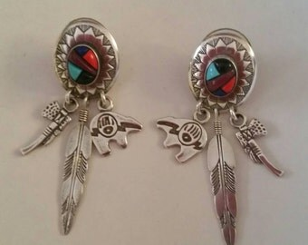 Vintage Q.T. Sterling Southwest Earrings /Multi-stone/ Dangle with Feather,Bears, tomahawk/Native American motif