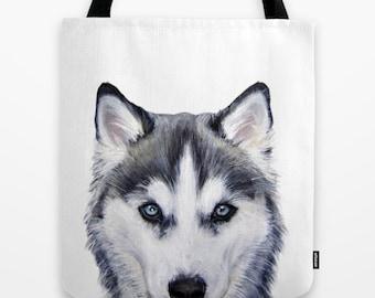 Tote bag Dog, Siberian-husky original painting print illustration print tote bag, print on both sides