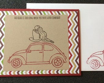 Friend, Love, Marriage, Wedding, Anniversary, Couple, Volkswagon, Car, Handmade, stampin up