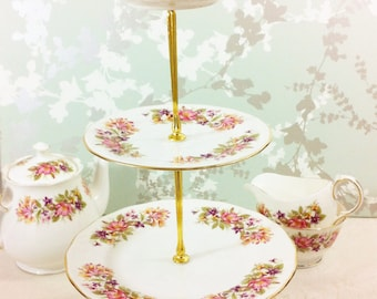 "Beautiful Vintage 4 Tier Cake Stand, Colclough ""Wayside"""