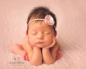 CONVO Me ABOUT SALE: Burnt Satin Headband for Newborn Photo Shoot, Newborn Headband, Infant Headband, Toddler Headband, Newborn Photo Prop