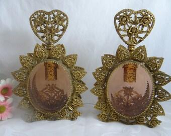 Vintage Pair of Large Gilt Filigree Ormolu Rose Glass Perfume Bottles - Outstanding