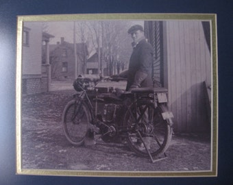 SALE 1920s Matted and Framed Photograph of Man with Early 1910s Indian Motorcycle