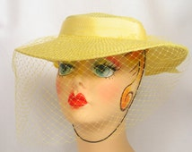 Yellow Wide Brim Veil Hat by Sonni San Francisco Derby Hat Dressy vintage 1960's Mad Men Hat Dead Stock excellent condition.