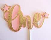 Pink and Gold One Cake Topper, Cake Topper, Pink and Gold Birthday, One Cake Topper,  First Birthday, Twinkle Twinkle Little Star Party