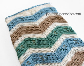 Crochet Pattern Chevron Baby Blanket Afghan with Dragonflies  PDF 16-259