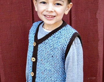 Crochet Pattern for Vest, Sweater, Cardigan, Baby and Kids Sizes PDF 16-224 INSTANT DOWNLOAD