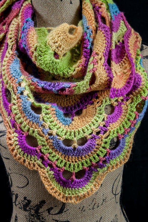 Crochet Pattern For The Virus Shawl : Rainbow Crochet Virus Shawl