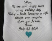 Mother o the Bride-Wedding Handkerchief-Non Printed Hankies-Customized-Wedding Hankerchief-Mother of the Bride