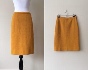 vintage 1960s skirt / 60s mustard yellow skirt / 50s wool pencil skirt / knit