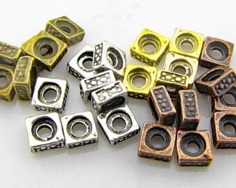Tibetan square spacer beads,  antique mix, 2mm hole, 10 pieces