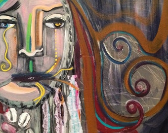 """Original Mixed Media Collage """"Spilling"""" 16"""" by 20"""" Acrylic Painting"""