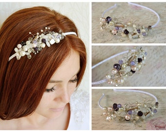 Crystal bridal tiara, Wedding tiara, Pearl crystal headpiece, Prom hair piece, Pearl bridal crown, Sweet 15, Mexican Birthday, Quinceanera