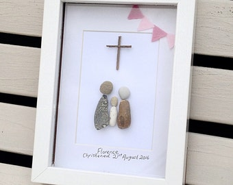 Pebble Art, Christening Pebble Art, Baptism Pebble Art, Baptism Gift. Baptism Keepsake,  Baptism Picture Gift, Pebbles, Rock Art,