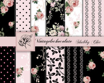 Digital Pink and Black Paper, Floral Pink and Black Paper, Pink Shabby Chic Roses, Background Paper, Pink and Black Paper. No. P93.VA