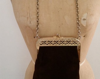 Hippie Purse Brown Suede Shoulder Bag 1970's Boho Purse Gold Tone Metal Filigree Hardware Chain Strap Kiss Lock Mod Suede Purse