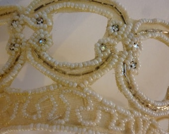 Vintage Bridal Veil Crown 40's Pearl and Rhinestone Tiara Milliner Head Piece