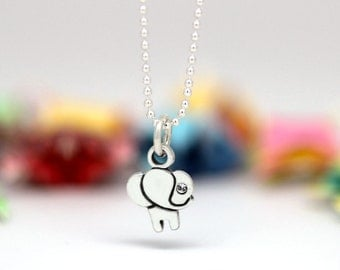 Little Elephant charm, sterling silver, kid jewelry (Chain Sold Separately)