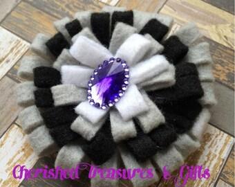 Black, Gray, White and Purple Felt Flower Clip