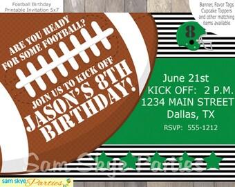 Football Birthday Party Invitation, Football Party, Football Invitation, Sports Party