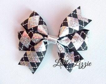 Black Argyle pinwheel hair clip diamond girl toddler