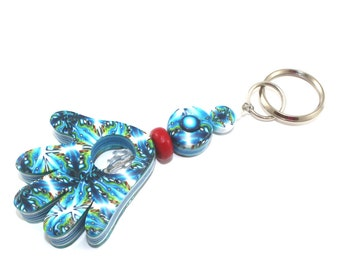 Handmade hamsa, blessing and luck polymer clay Hamsa keychain, Accessories, handmade keychain in blue, white and turquoise
