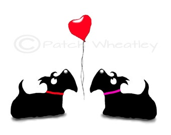 Scottie Dogs 'Love ' Art Print #90