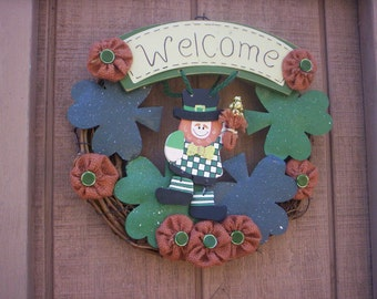 St Patricks shabby chic wreath/Burlap Flower wreath/Shabby button wreath/Spring wreath/St Patricks day burlap wreath/St Patricks day wreath