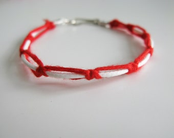 Frienship braided bracelet, red white, Greek folk bracelet, acrylic cords, boho, rustic bracelet, traditional Greek Martis bracelet