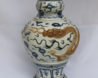 RARE Antique Chinese Blue and White Porcelain Ming Vase