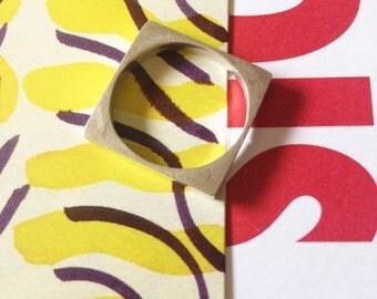 LOVE U SALE Vtg Avant Garde Squared Silver Ring (6)
