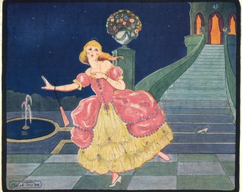 RARE! CINDERELLA Escapes! Fairy Tale Vintage Illustration. DIGITAL Cinderella Download. Digital Vintage Cinderalla Printable Image.