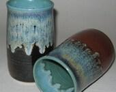 Pottery Iced Tea Tumbler in Rainforest Green, 18 oz Handleless Mugs, Wheel Thrown