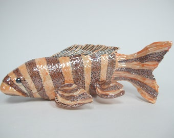 Whismical Koi,Koi  Fish Sculpture, Ceramic Fish,  Fish, Stripped Fish, Porcelain Koi