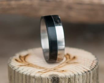 Mens Wedding Band -Wood and Titanium Ring - Staghead Designs