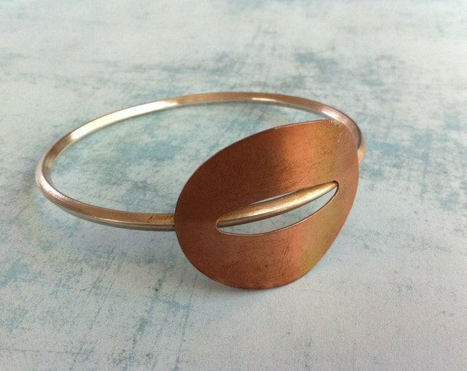 Silver and copper cuff Bracelet -oval shape geometric bracelet - minimal unique silver bangles