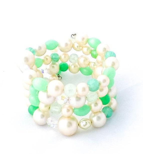 Vintage White Pearl and Plastic Green Beaded Multi Strand Wrap Bracelet