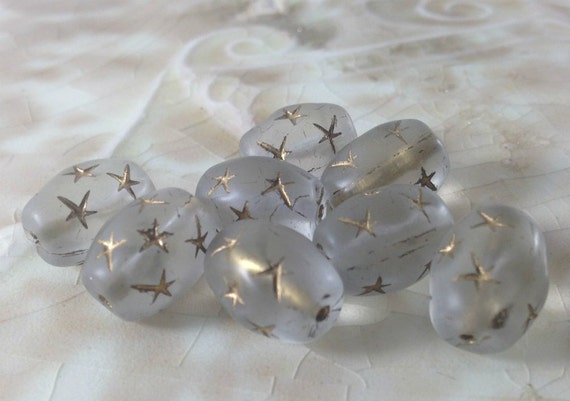 Czech Glass Chunky Oval Beads - Frosted Crystal with Gold Star Details - Clear Sea Glass - Celestial, Bohemian - 13mm x 10mm -  Qty 8