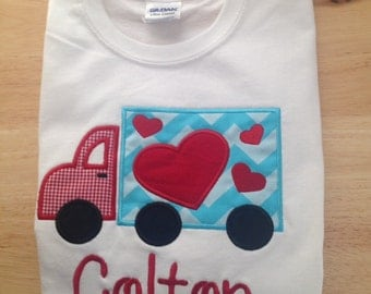 Boys Truck Valentine Shirt with Name