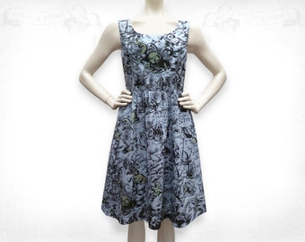 Sea Monsters screenprinted Cotton Dress- Ocean Blue