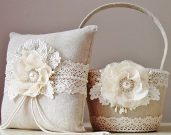 Flower Girl Basket, Ring Bearer Pillow, Rustic Wedding, Flower Girl Basket and Ring Bearer Pillow