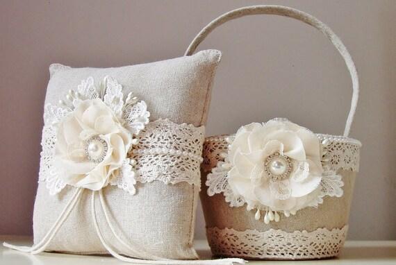 Flower Girl Baskets And Ring Pillows : Flower girl basket ring bearer pillow rustic wedding
