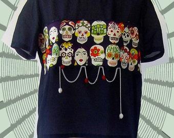 Black silk-cotton t-shirt  Frida's short sleeves